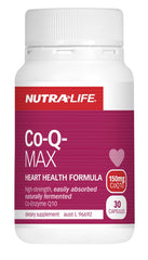 Nutra-Life Co-Q Max Coenzyme Q10 150mg Heart Formula Capsules 30