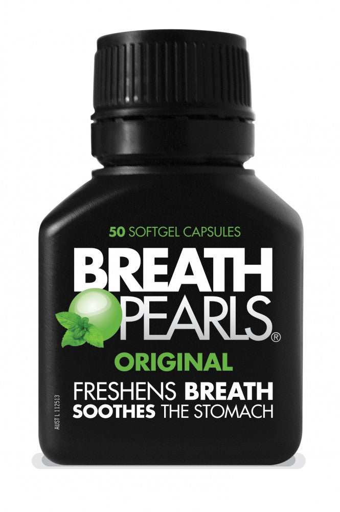 Myerton Natural Breath Pearls Original Peppermint and Parsley Flavour Gel Caps 50