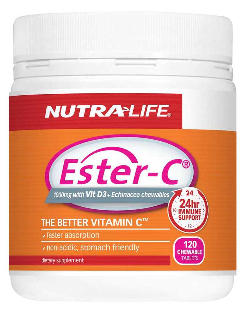 Nutra-Life Ester C 1000mg with Vitamin D 3 & Echinacea Chewable Tablets 120