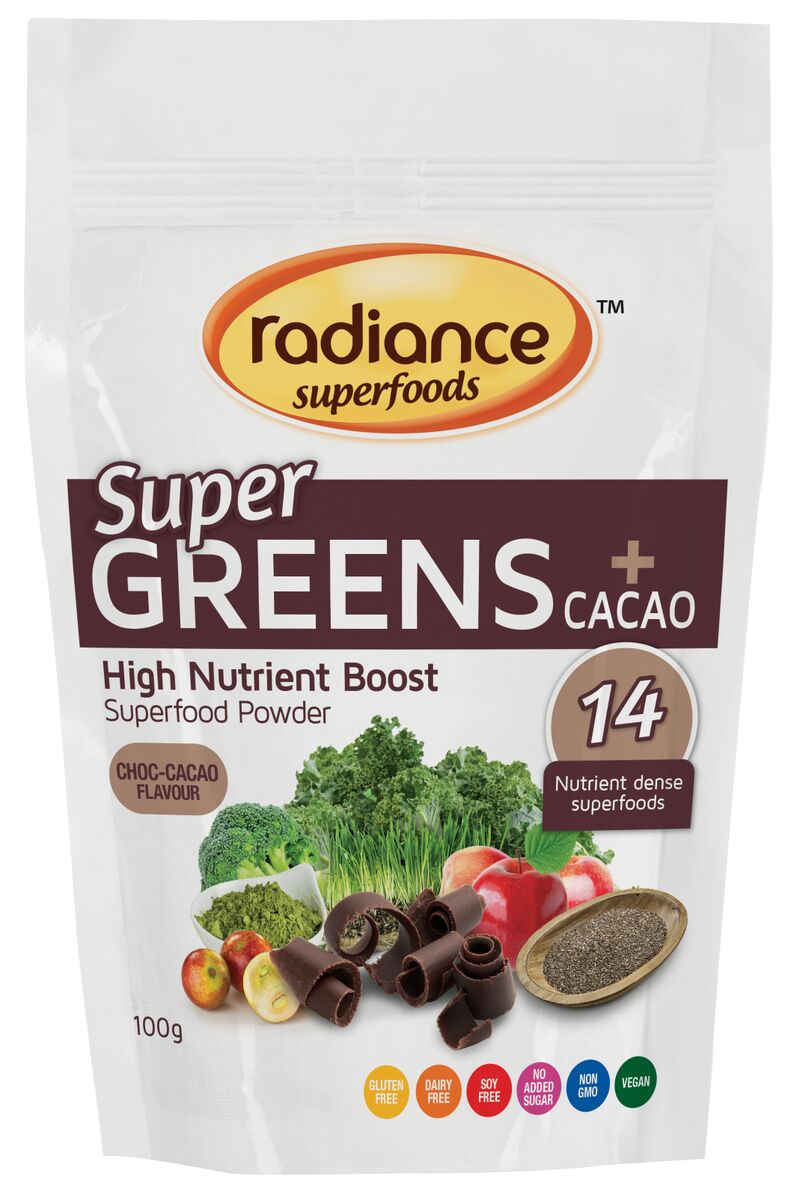 Radiance Superfoods Super Greens Plus Cacoa 100g