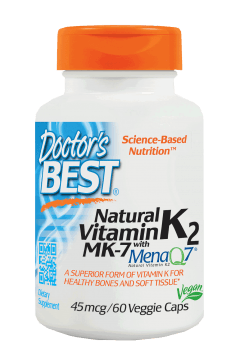 Doctor's Best Natural Vitamin K2 45mcg featuring MenaQ7 Veggie Capsules 60