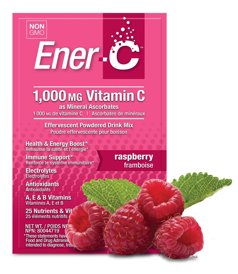 Ener-C Raspberry Multivitamin Drink Mix - 1000mg Vitamin C, Sachets 12