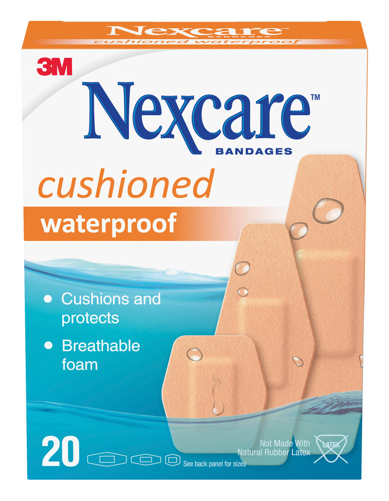 Nexcare Cushioned Waterproof Assorted Bandages 20