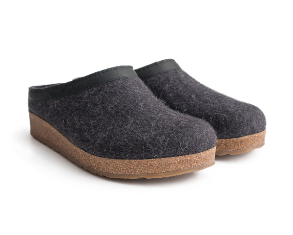Haflinger Cork & Wool Clog Charcoal