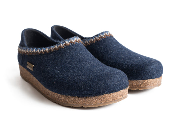 Haflinger High Back Cork & Wool Clog Blue