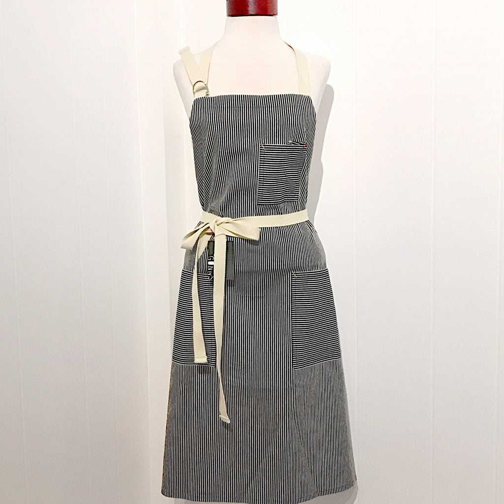Indigo striped apron-unisex