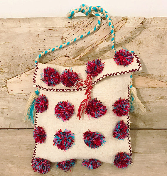 Boho Folk pom pom bag/IN STORE ONLY
