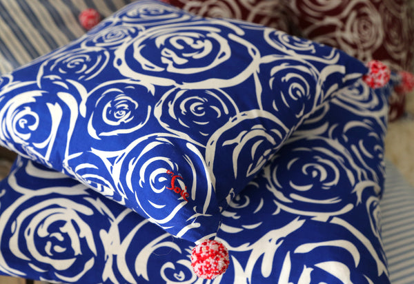 decorative royal blue pillow