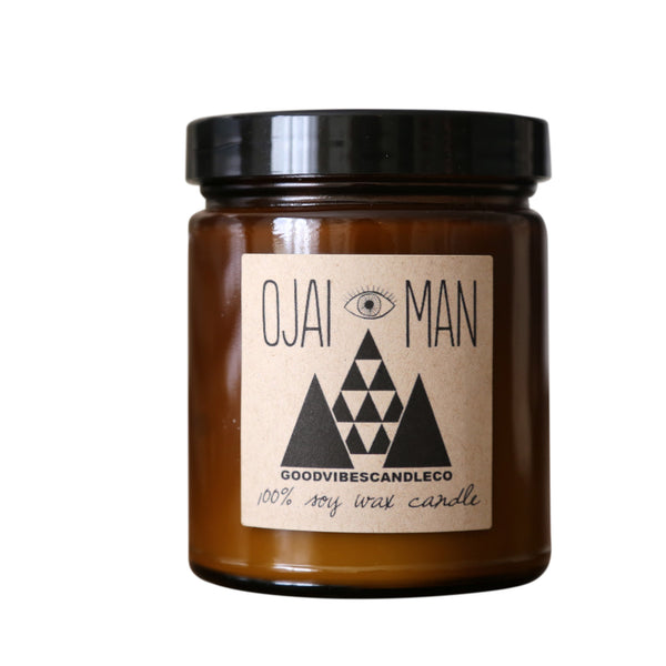 Ojai Man candle~firewood and pine