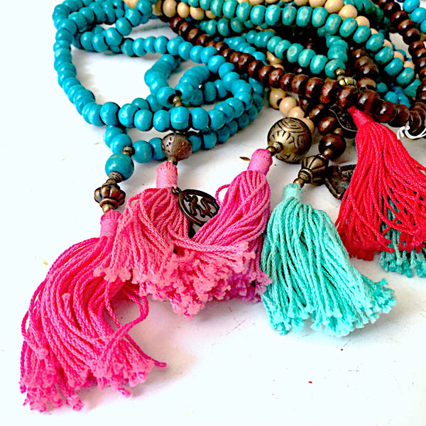 Mala Beads~Medium tan w/purple tassel