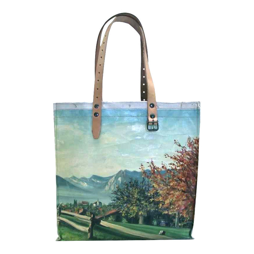 swarm goods recycled painting tote/ handbag