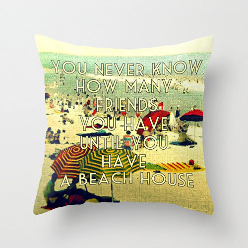 vintage style beach house pillow