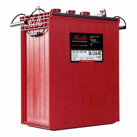 Solar + Battery Backup - Rolls Surrette S6 L16-HC: Flooded Battery / 6 VDC / 428 AH @20 HR