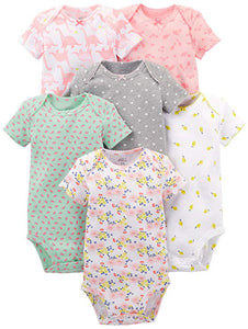 White LOT OF 8 Simple Joys by Carter/'s Short Sleeve Bodysuits