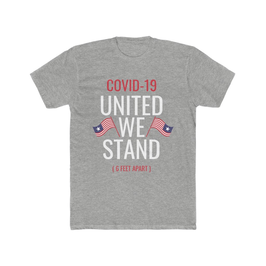 COVID-19 United We Stand / 6 Feet Apart Black - Men's Cotton Crew Tee
