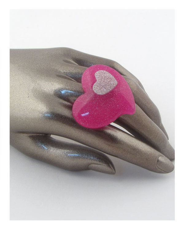 Adjustable heart shaped ring