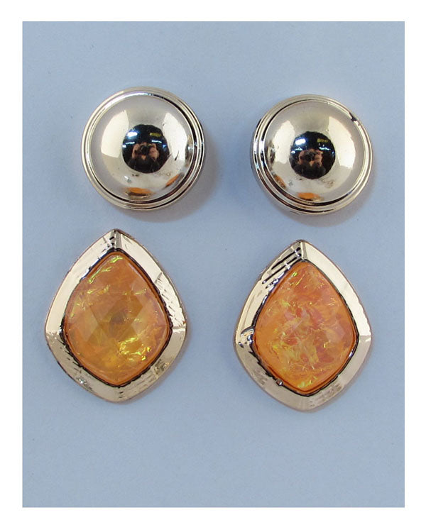 2 PC faux stone earrings