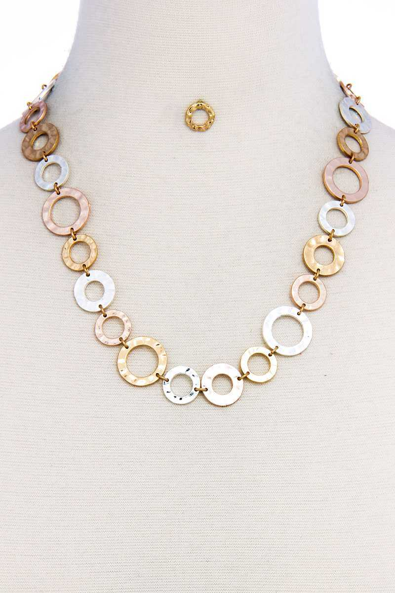 Designer Chic Trendy Hoop Chain Necklace And Earring Set