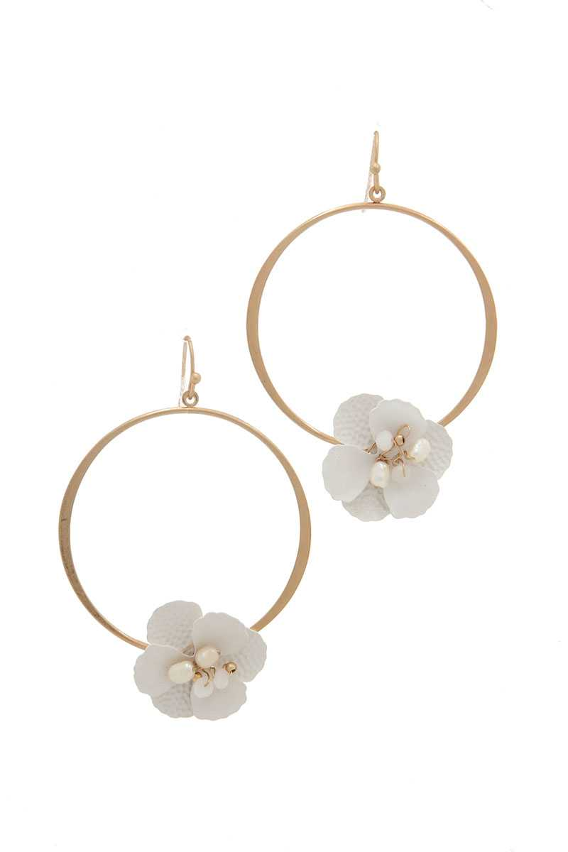 Flower Shape Ring Drop Earring