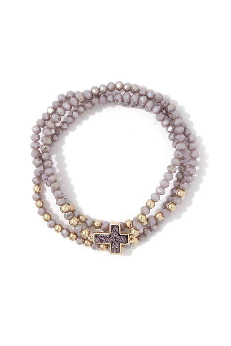 Beaded Cross Charm Stretch Bracelet