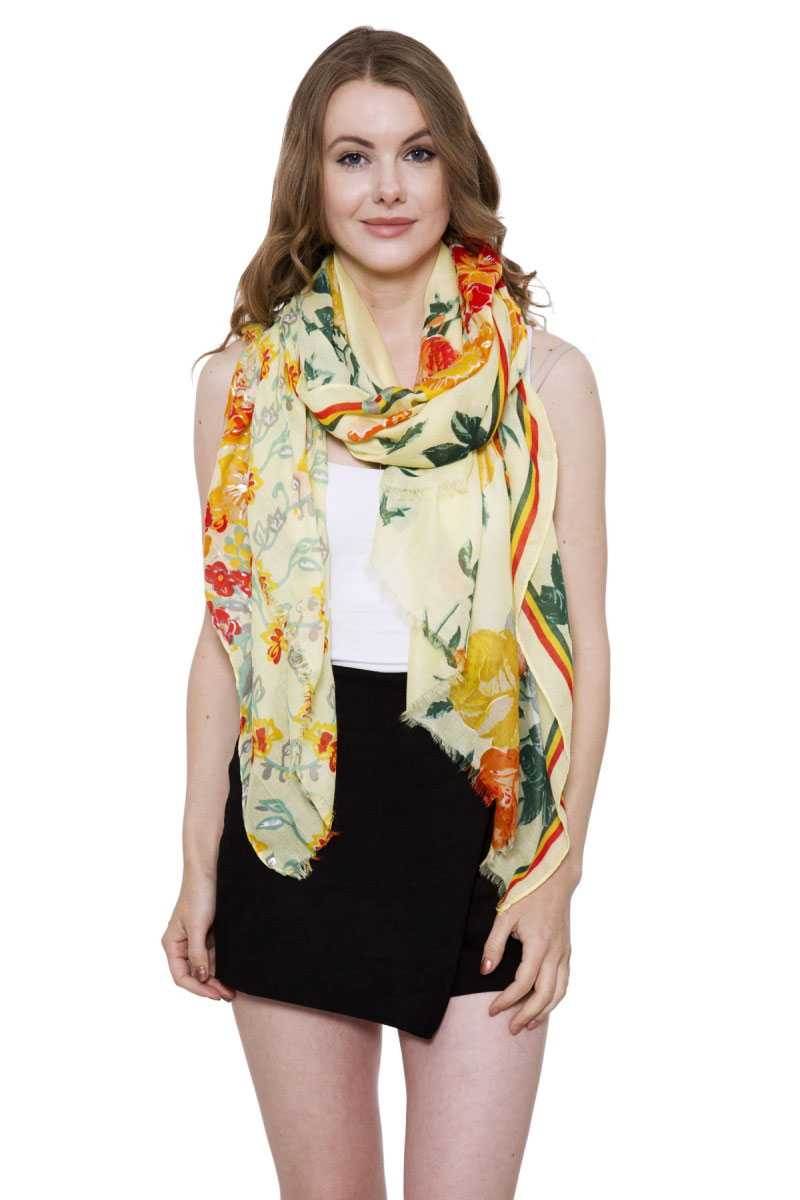 Soft Bold Floral Print Oblong Scarf