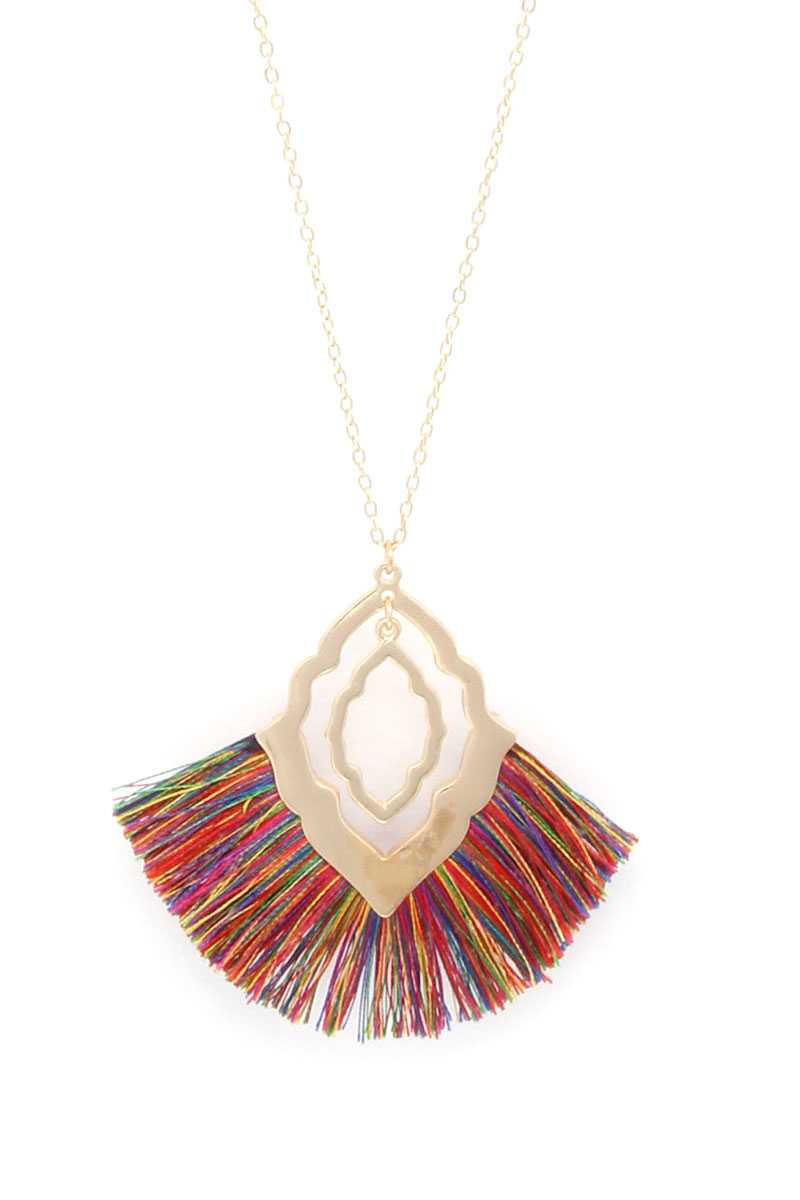 Double Moroccan Shape Fan Tassel Pendant Necklace