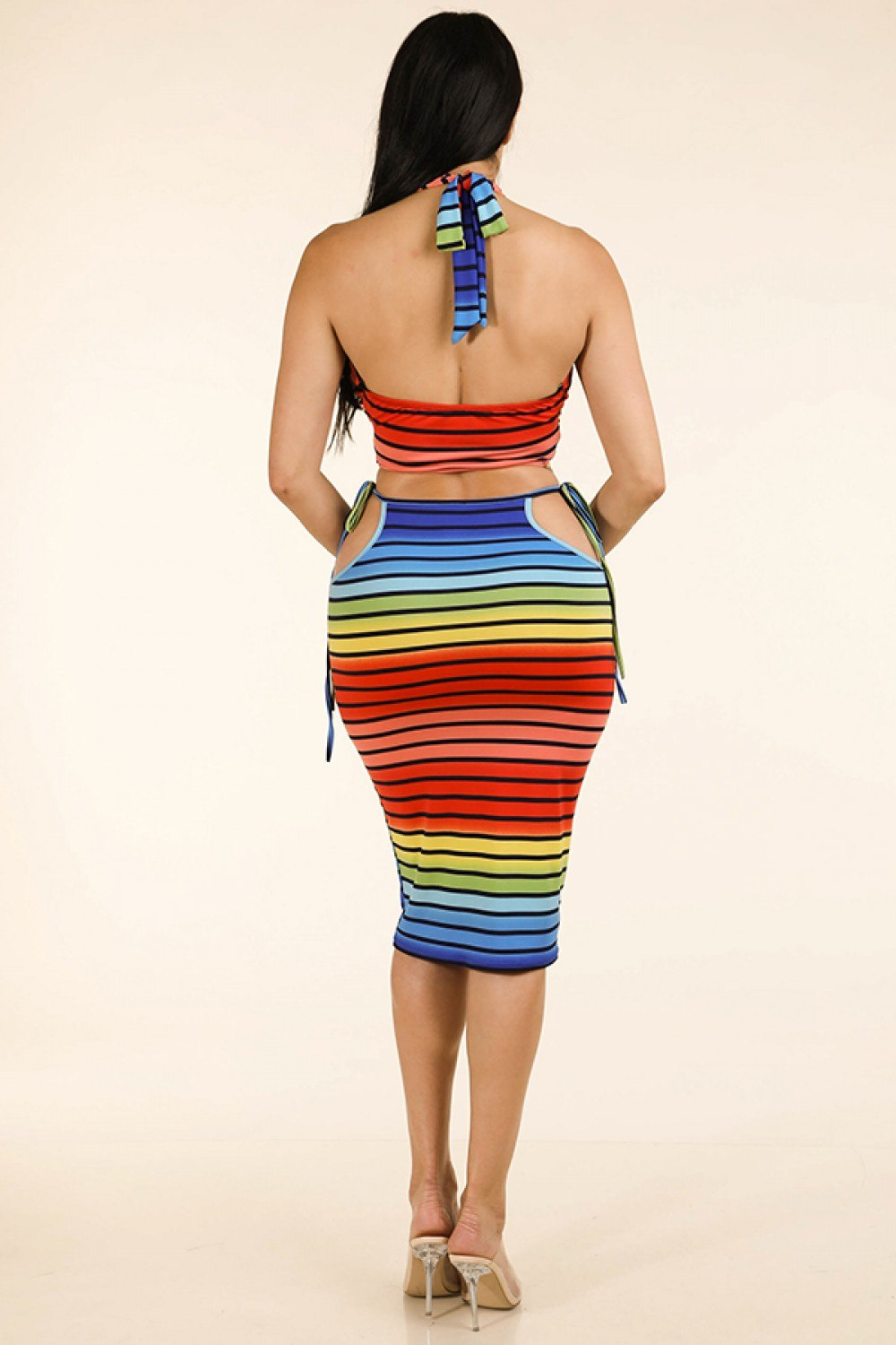 Rainbow Stripe Halter Top & Side Cutout Midi Skirt