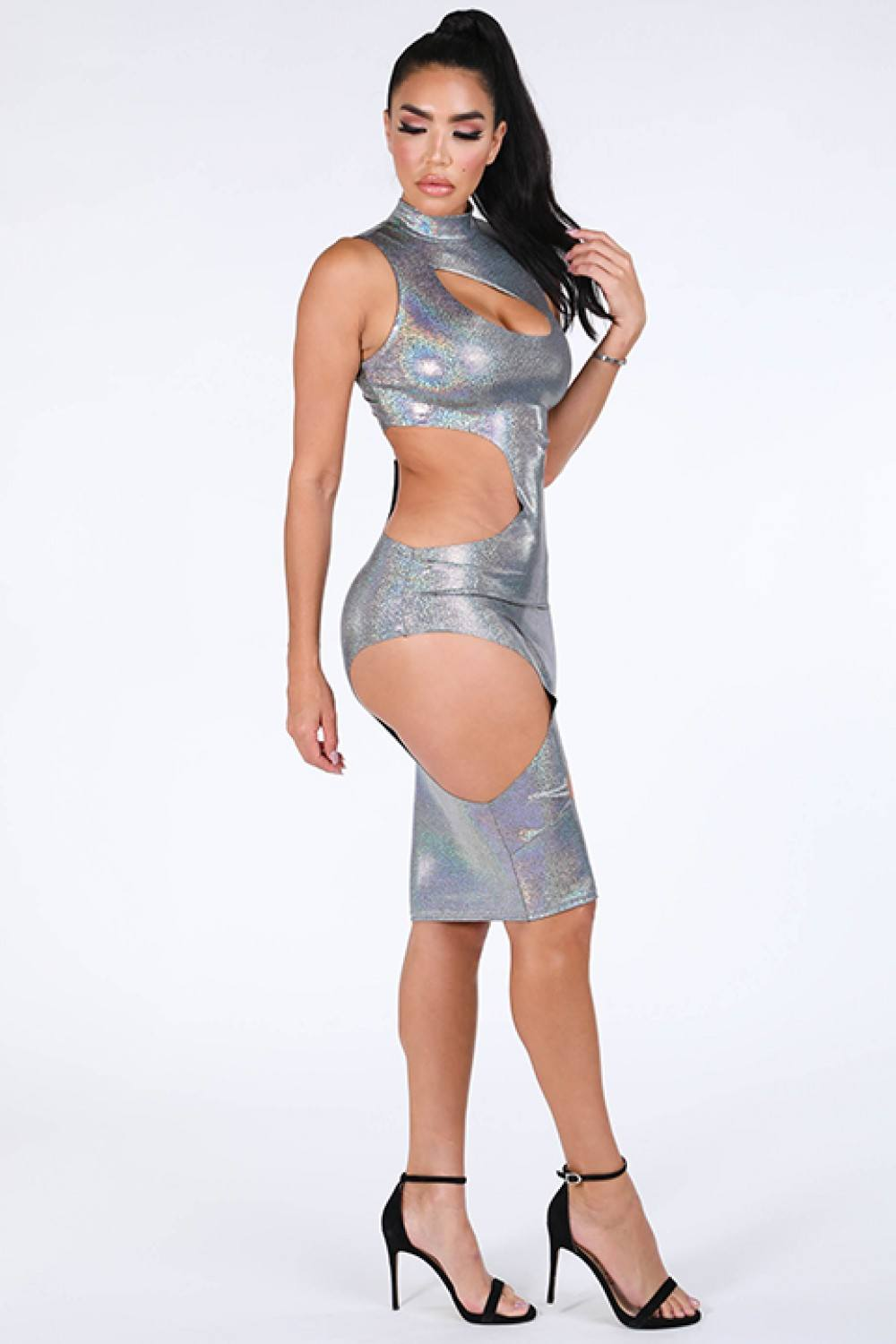 Cutout Sexy Maxi Hologram Dress