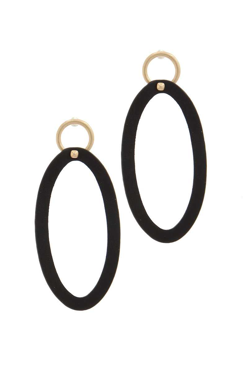 Oval Shape Circle Post Drop Earring