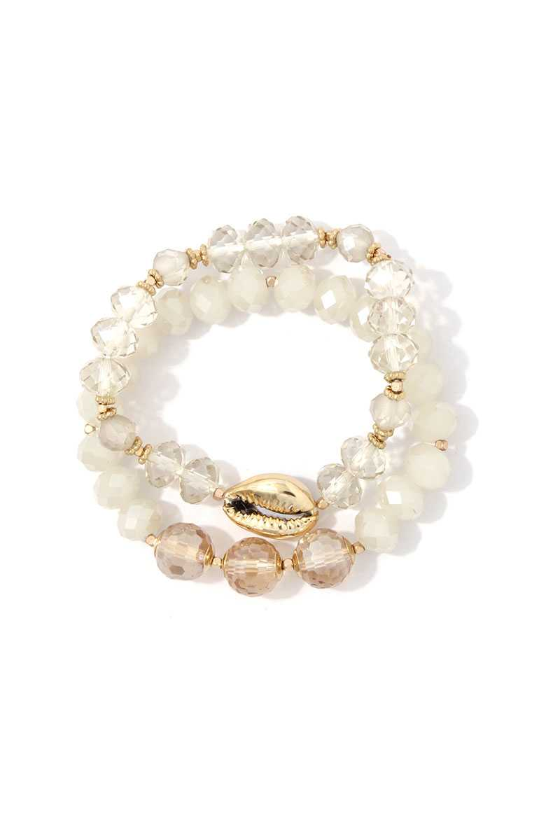 Cowrie Charm Beaded Stretch Bracelet Set