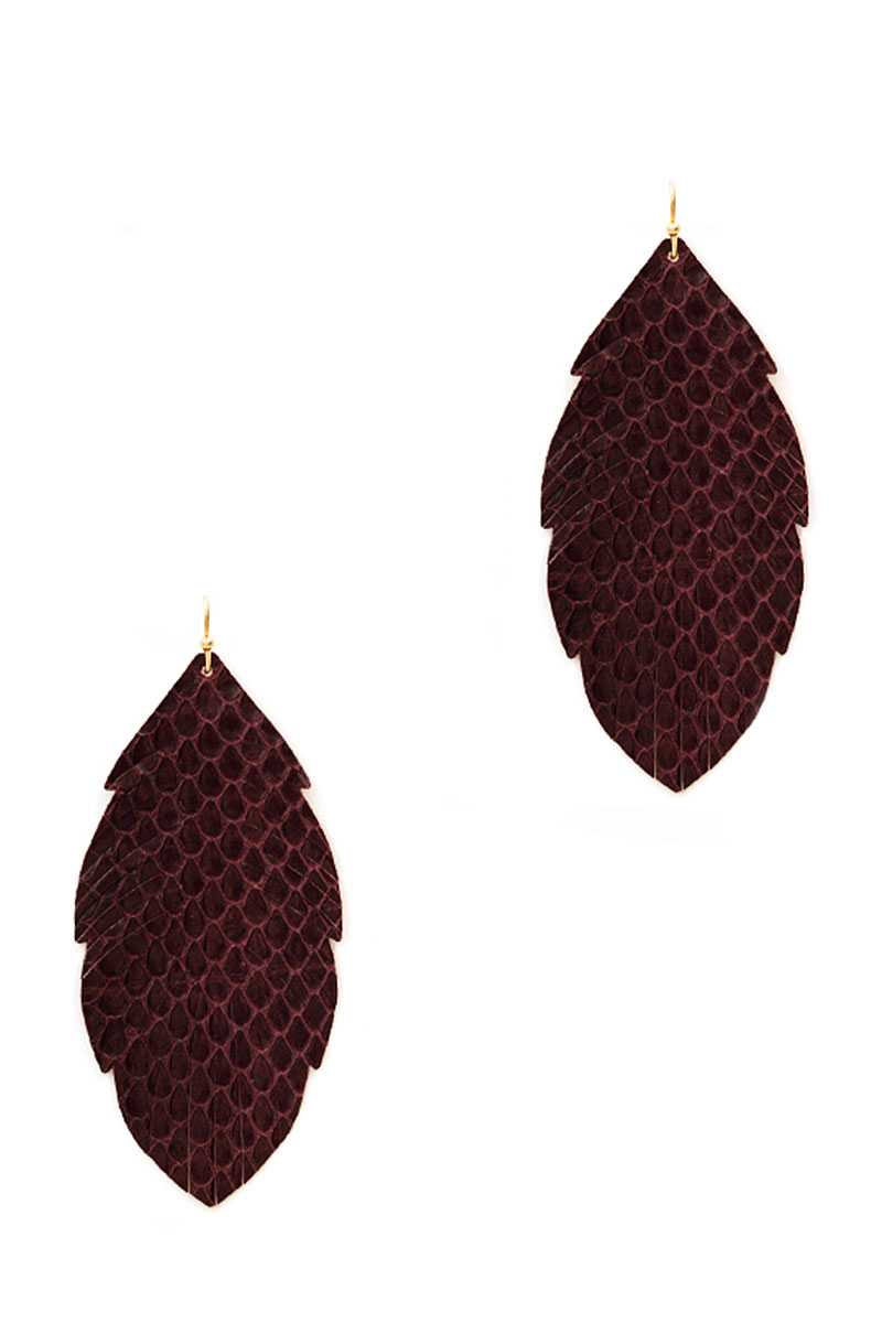 Trendy Genuine Leather Animal Skin Textured Leaf Drop Earring