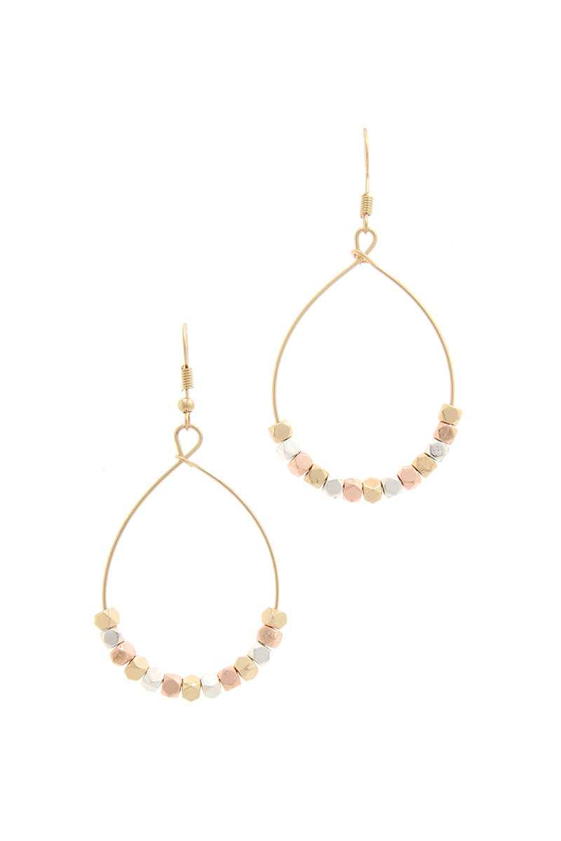 Beaded Metal Drop Earring