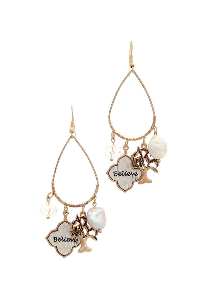 Believe Tree Charm Drop Earring