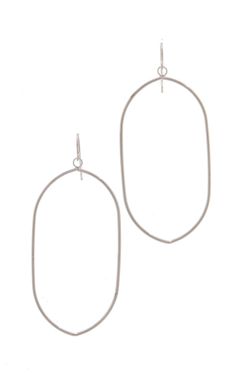 Long Oval Shape Drop Earring