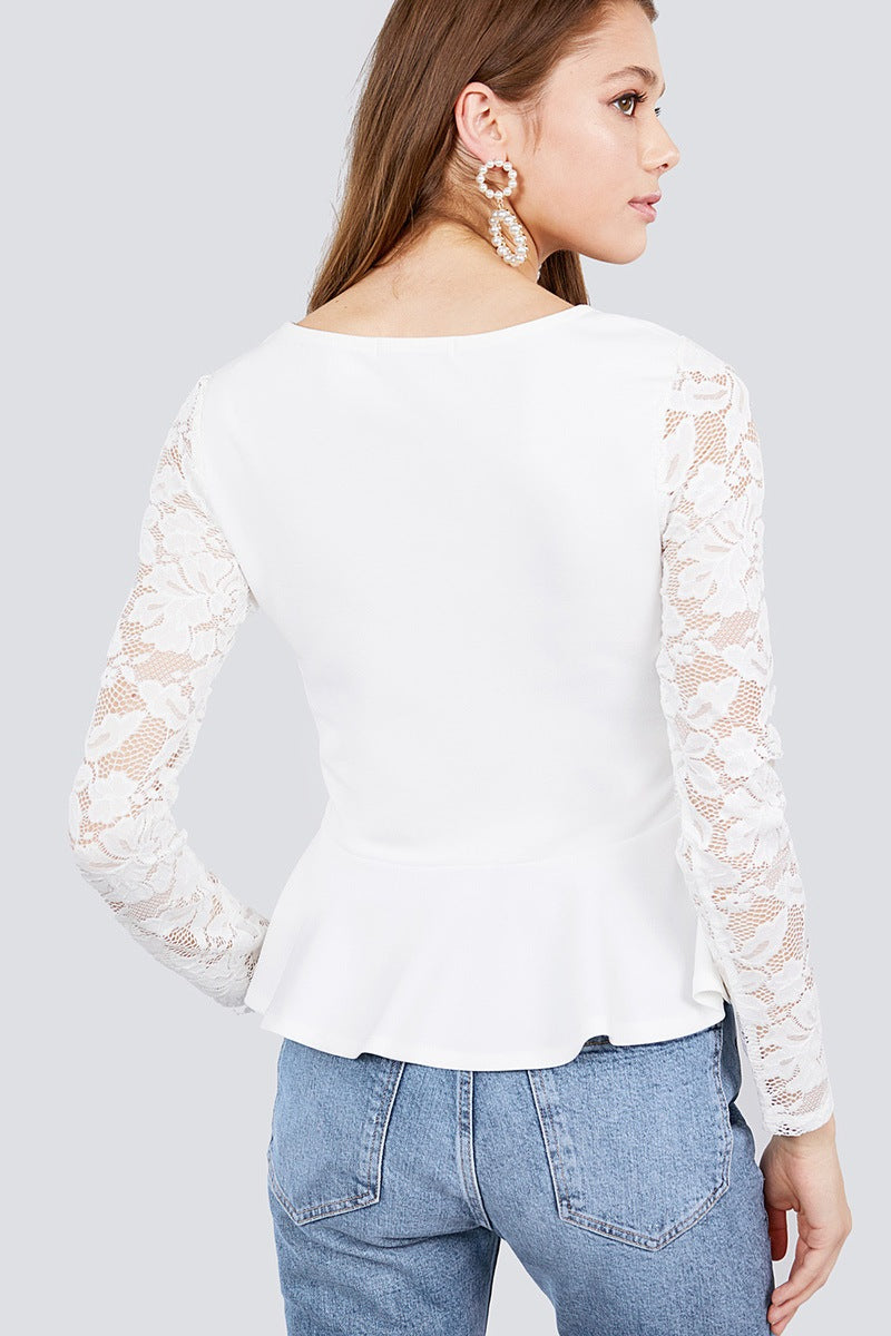 Long Sleeve Round Neck Lace Detail Peplum Knit Top