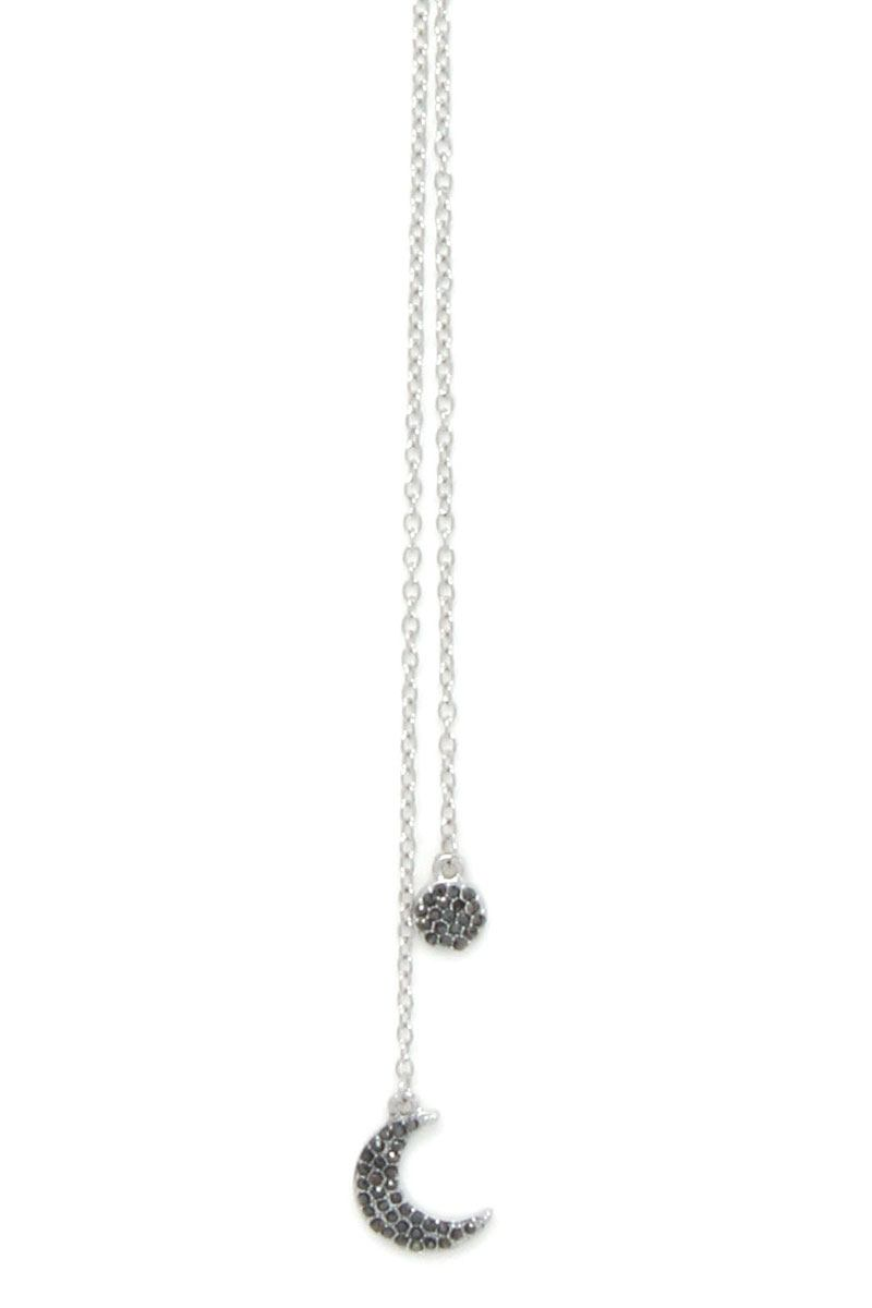 Moon Circle Rhinestone Y Shape Necklace