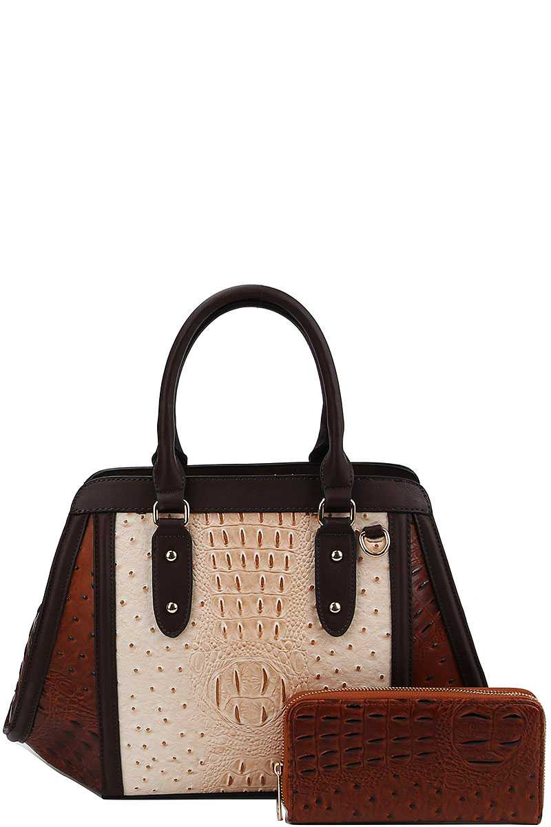 2in1 Two Tone Croco Pattern Satchel With Matching Wallet