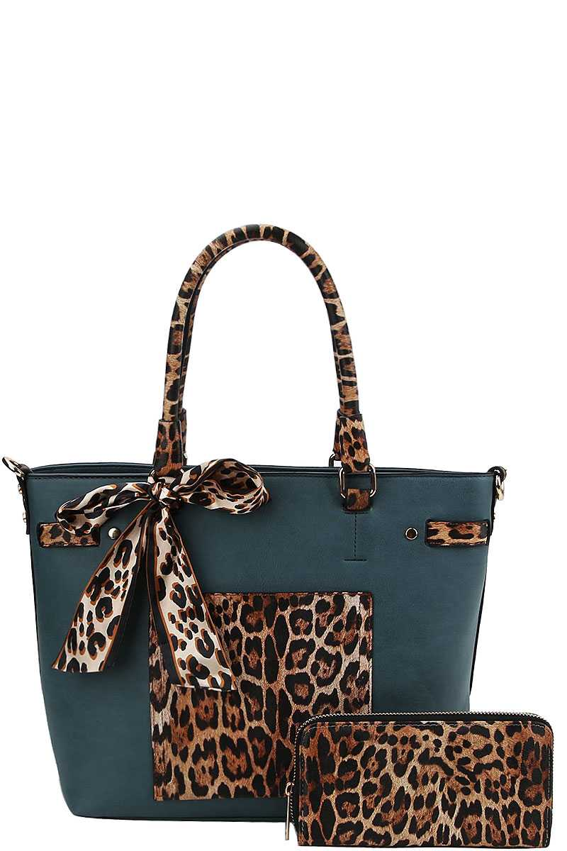2in1 Leopard Two Tone Scarf Tote Bag With Matching Wallet
