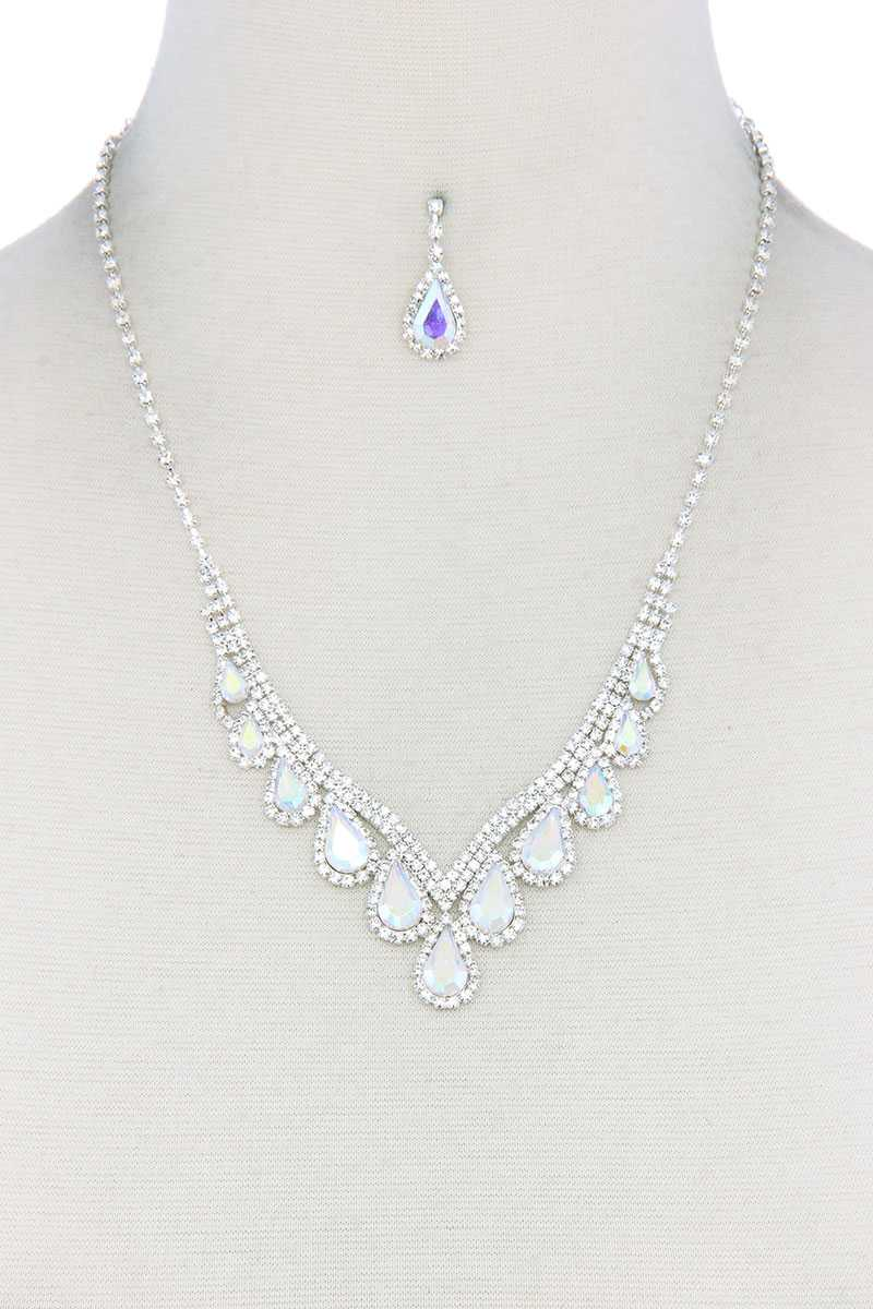 Teardrop Shape Rhinestone Necklace