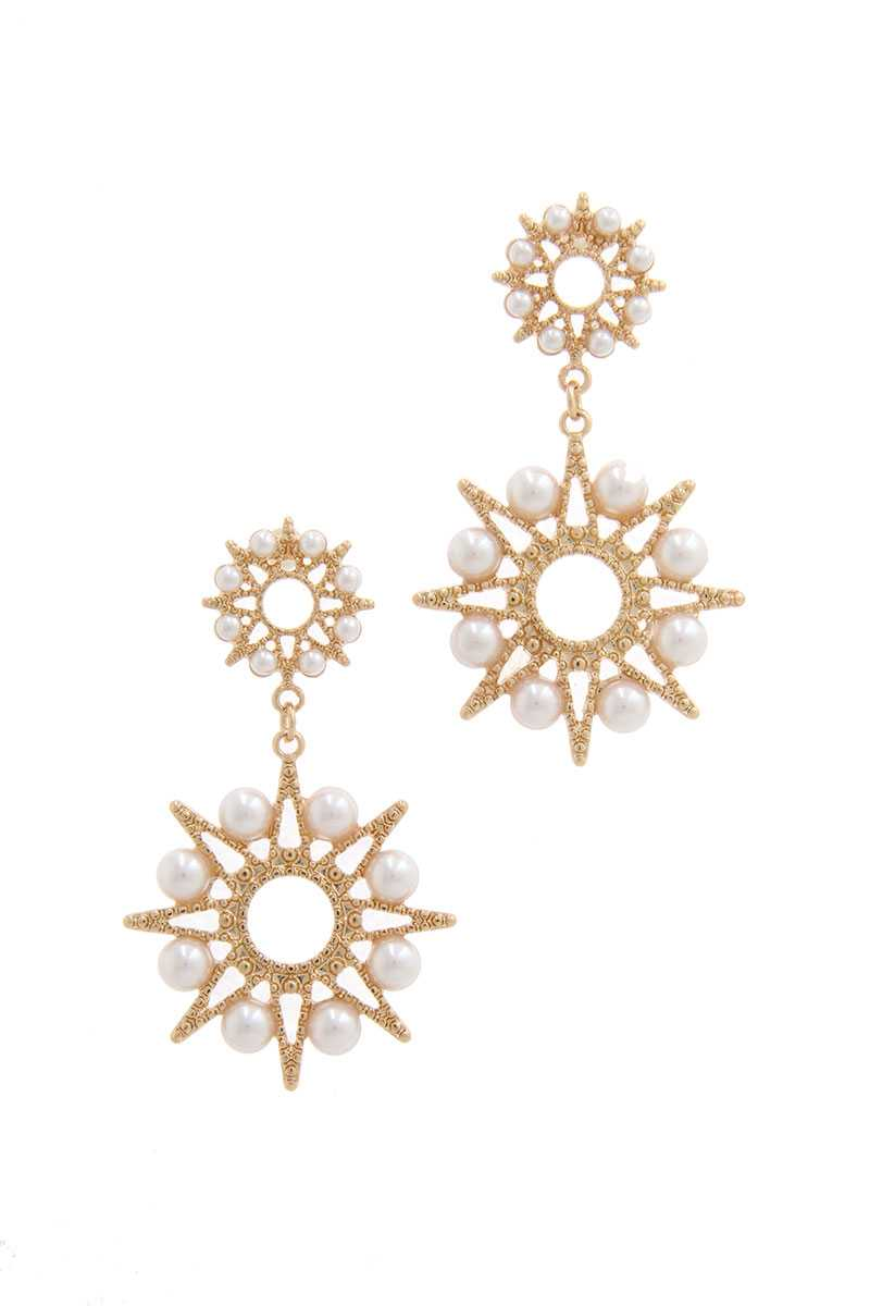 Starburst Pearl Drop Earring
