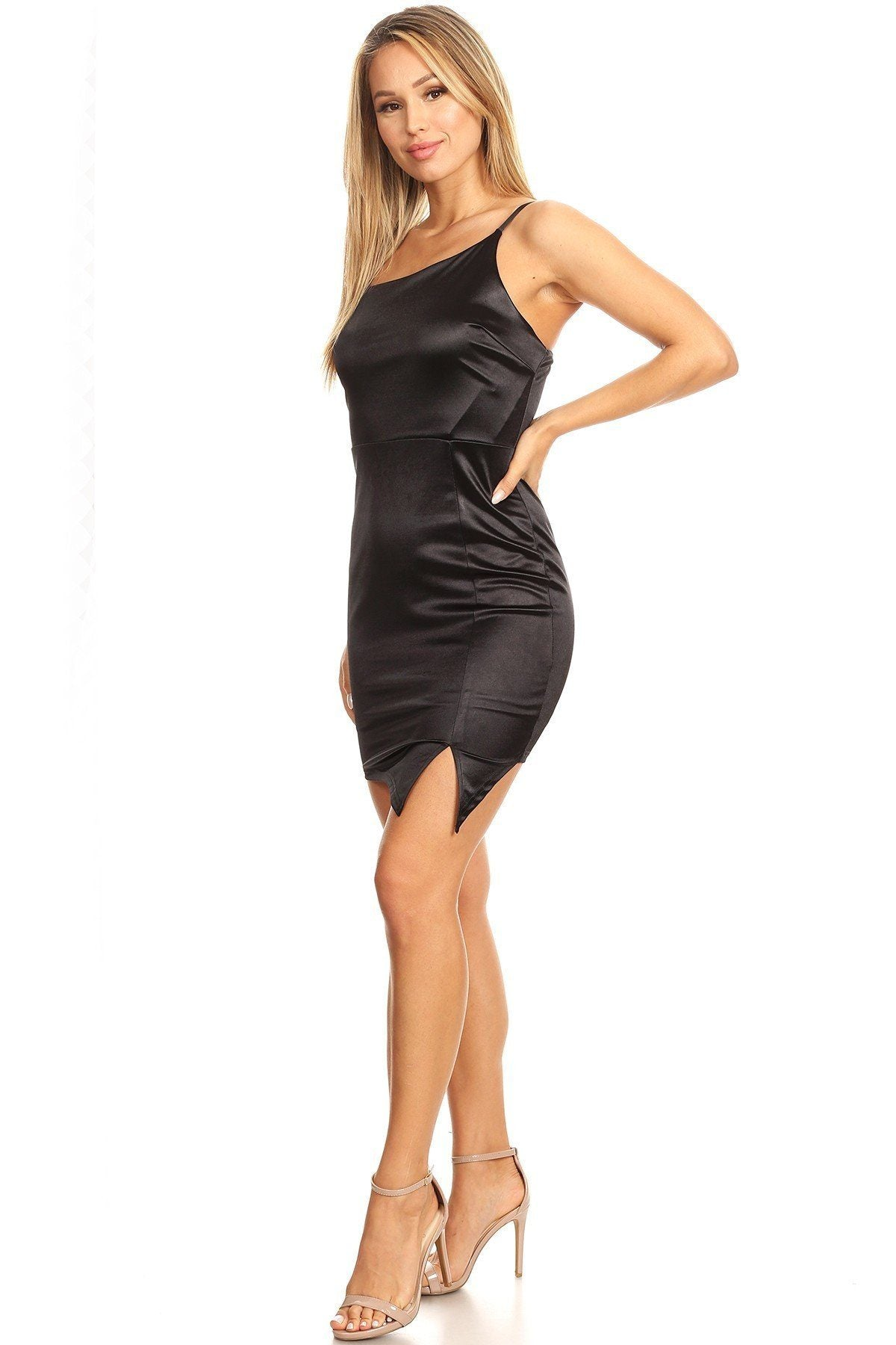 Solid Mini Dress With Bodycon Fit, Side Slit, And Spaghetti Straps