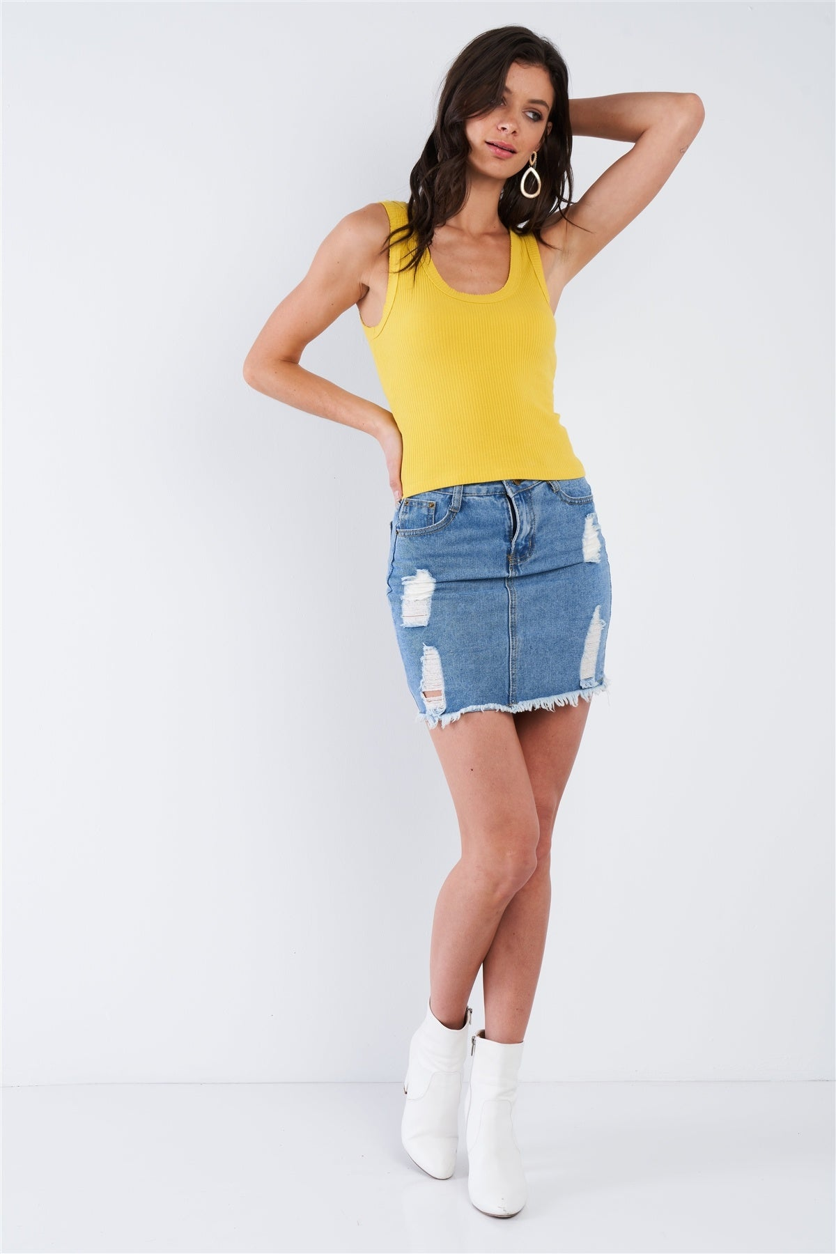 Mustard Yellow Ribbed Scoop Neck Raw Hem Tank Top