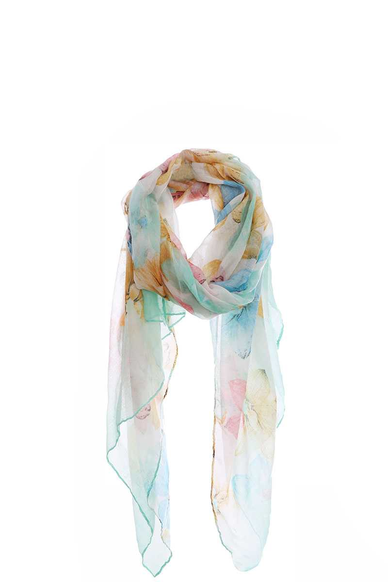 Fashion Multi Color Flower Print Chiffon Scarf