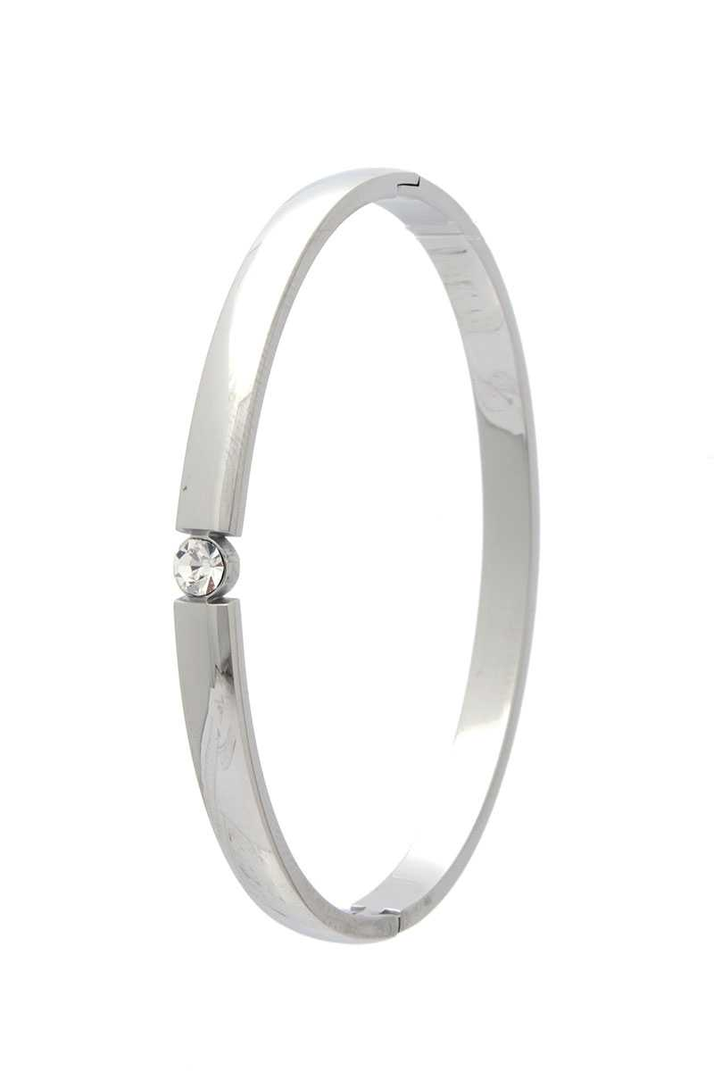 Cubic Zirconia Stainless Steel Bangle
