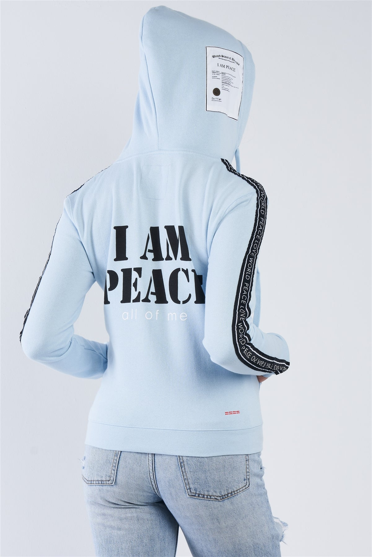 "Baby Blue ""i Am Peace, All Of Me"" Graphic Long Sleeve Hoodie"