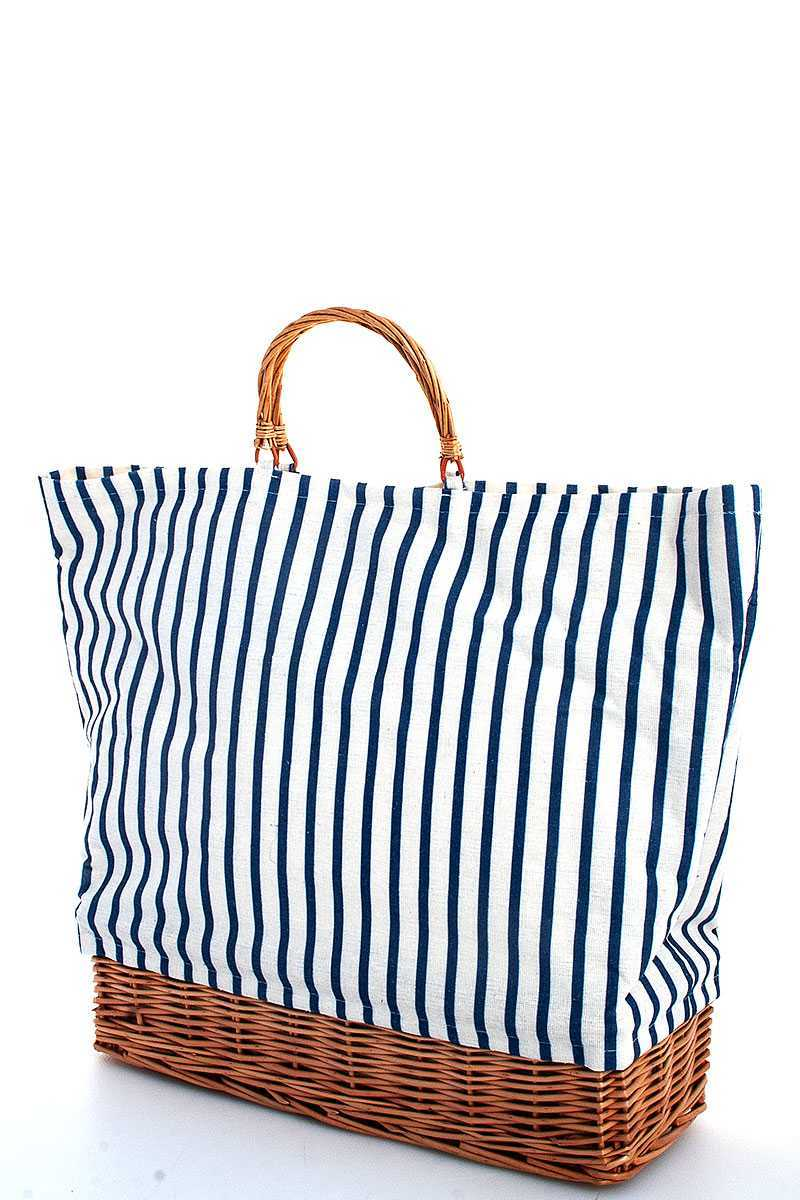 Natural Woven Straw And Striped Fabric Tote Bag
