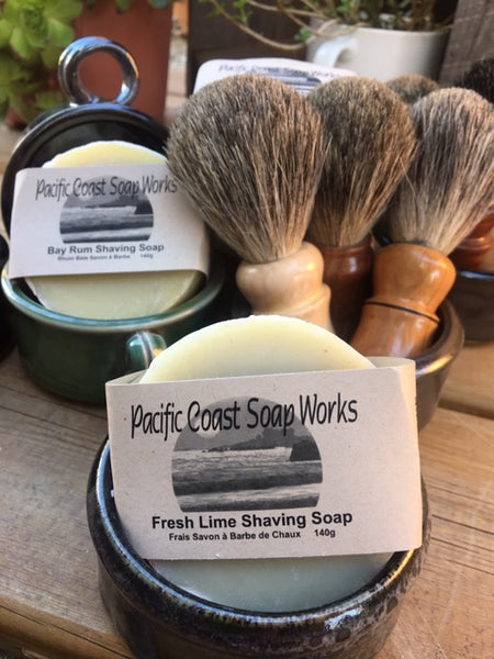 fresh lime shaving soap and shaving brush