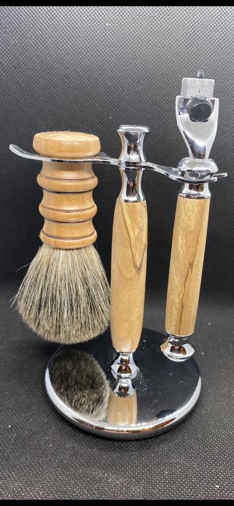 Shave set locally hand turned