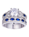 White CZ & Sapphire Solid Real 925 Sterling Silver Ring Set