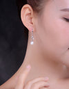 925 Sterling Silver Pearl Long Earrings